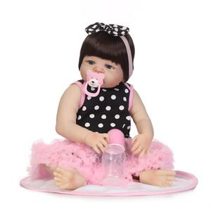 22inch Yumuşak Silikon Reborn Baby Doll Kız Oyuncakları Lifelike Bebekler boneca Tam Vinil Moda Bebekler Reborn Reborn Menina