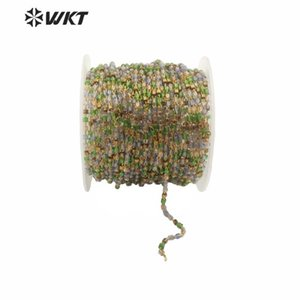 WT-RBC156 Wholesale Stone Bead Jewelry Chain Mixed Color 2mm Miyuki Beads Bohemian Gold Plated Brass Chain For Female Gift