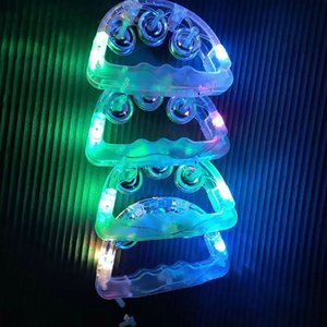 LED Colorful Light Handbell Tambourine with Jingle Bells Kids Toy Party Prop baby rattle toys glow handbell decoration supplies