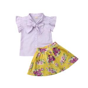 Bebek Çocuk Giyim Bebek Önlükler Kız Resmi Bow Mor Gömlek Çiçek Renkli Etek Elbise Kıyafetler Titreme Giyim Setleri Tops