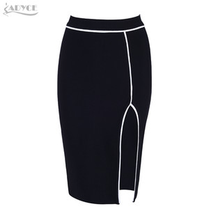 ADYCE New Women Bandage Skirt 2018 Sexy Celebrity Party Skirts Knee-length Black Club Bodycon Skirt Celebrity Party Runway