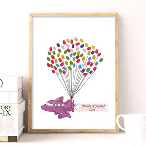 Purple Aircraft Canvas Wedding Gift Fingerprint Signature Guest Book for Engagement Party Wedding Anniversary Inkpad Included