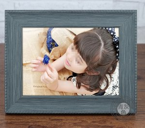 04 Wood wall photo frame creative child frame Warm Family Vintage Home Decor Wooden Wedding props supplies 10.2cm*15.2cm