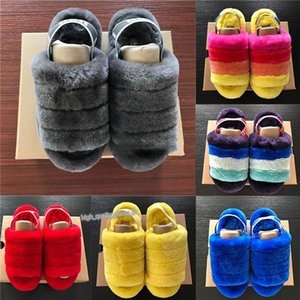 1 Xmas women Furry Slippers Australia Fluff Yeah Slide designercasual shoes boots Fashion Luxury Designer Women Sandals Fur Slides Xshfbcl