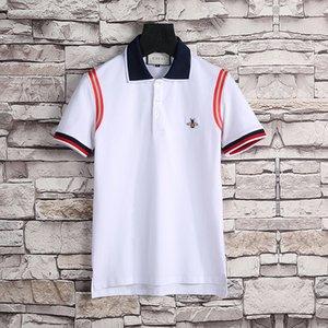 Мужской Роскошных нашивки классических рубашек поло футболка змейка моды польос пчела цветочный вышивки мужской High уличной мода лошадь Марк Поло T-Шир