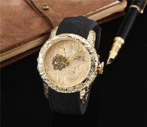 Quente! novo dragão duplo assistir relógio de quartzo laser carving dragão padrão de discagem high-end moda de luxo das mulheres dos homens de corrida relógio
