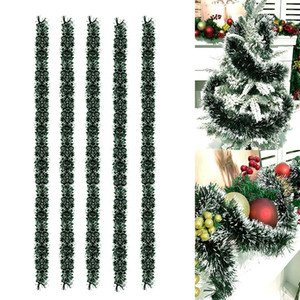 5шт Рождество Темно-зеленый Белая лента Главная Декор 2M елочную гирлянду 200x8cm Дерево ленты Xmas Орнамент Home Decor ST