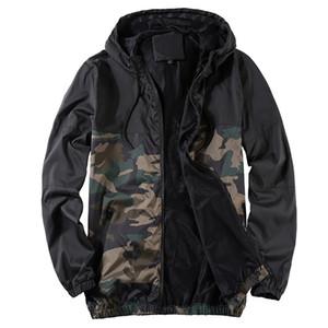 Erkek Ceket Yeni Bahar Sonbahar İnce Ceket Erkekler Kamuflaj Patchwork Kapşonlu Coat Streetwear sunproof Mesh Ceket Erkek Boyut M-4XL