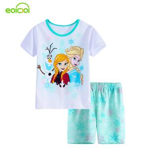 Новый летний мультфильм костюмы девочек Пижама младенец Печатная Pijamas наборов хлопок детской одежда ягнится Sleepwears пижамы девочки мальчик Y200704