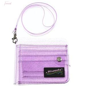 Transparent carte d'identité Porte-Pvc pliant court Wallet Femmes Mode Fille Glitter Cartes de visite Clear Case senneur Longe
