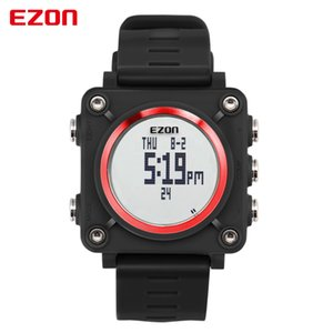 Ezon L012 Único Vogue Men Digital Watch Time Mundial Cronômetro Compass Multifuncionais Relógios de pulso Casual para Estudantes