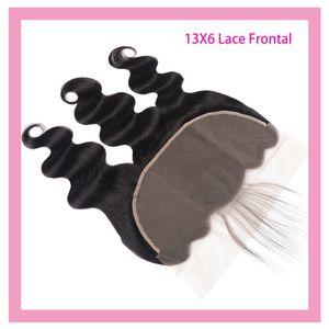 Перуанские 100% девственницы человеческие волосы 13x6 кружева фронтальные с детским продуктами для волос тела натуральный цвет 13 на 6 кружева фронтальный с волосами