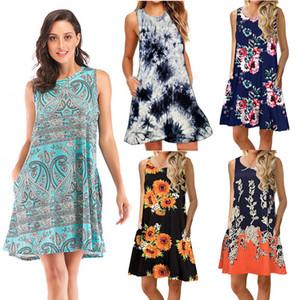 Frauen druckte Weste-Kleid 40 Farben Böhmische Blumenstrand-Kleid-Frauen-beiläufige Kleider Damen Little Flower Kleid Vestidos De Mujer 060407