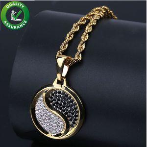 Hip Hop Jóias Iced Out Pingente de Luxo Designer de Colar de Diamantes CZ Colares de Tai Chi Mens Pingentes de Cadeia de Ouro Acessórios de Individualidade