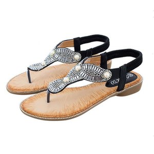 Crystal Summer Sandals Women Shoes Flat Ethnic String Bead Flip Flops Female Beach Slippers Casual Woman Leather Ciabatte Donna
