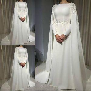 백 이슬람 웨딩 드레스 케이프 라인 장 소매 신부 드레스 아플리케 청소 기차 웨딩 드레스