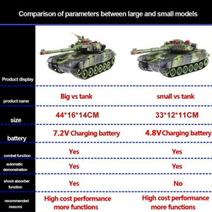33 44cm RC Battle Tank Military Tactical Vehicle LED Lighting Off-road Tracked Remote Control Tanks Model Chassis Toys For Boys Y200414
