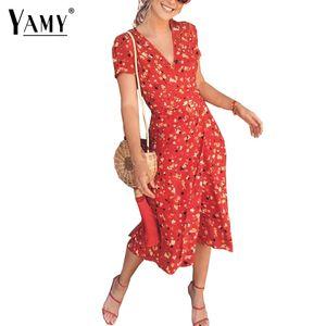 Yaz çiçek kiraz baskı şifon dress kadınlar retro v-cut puf kollu midi dress casual boho wrap dress 2018 vestidos y19071001