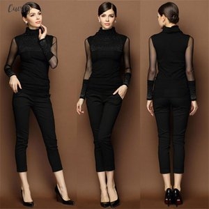 M 3Xl Autumn Sexy Lace Tops Women Slim Plus Size Lace Blouse Long Sleeve Casual Shirt Beaded Openwork Women Clothing