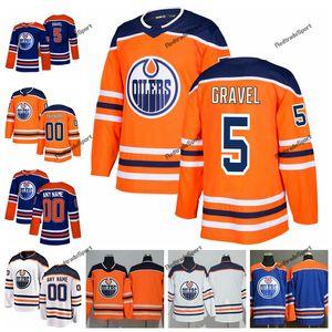 2019 Personalizar Edmonton Oilers Kevin Gravel Hockey Jerseys Hombre alternativo New Blue Orange 5 Kevin Gravel Stitched Jerseys Camisetas S-XXXL