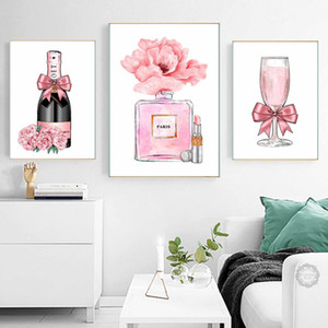 Abstract Champagne Gin Rose Canvas Pintura Bottle Wall Art Nordic Poster Print Moda Imagem Living Room Decor decorativa