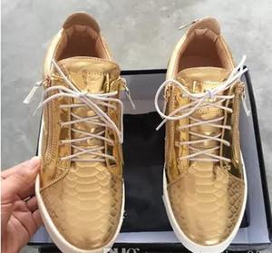 Hot Sael-luxury scarpe casual da uomo sneaker da uomo sneakers da donna nuovissime con rivetti con decorazione in metallo Vernice doppia cerniera alta