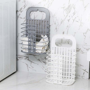 Laundry Basket Dirty Clothes Basket Bathroom Folding Laundry Hamper Wall Hanging Household Plastic Clothes Storage Basket Bathroom Organizer