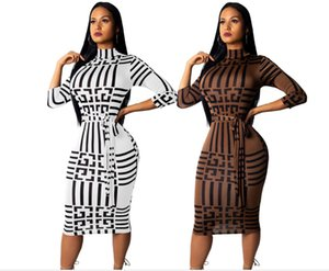 여성 디자이너 드레스 긴 소매 슬림 Bodycon 복장 튜닉 크루 넥 캐주얼 연필 섹시한 여성의 천 드레스