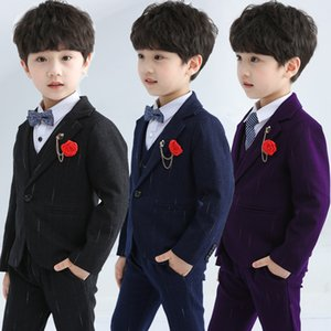 New Fashion Boys Suits Flower Kids Slim Blazer Jacket Vest Pants 3pcs Clothing Set Children Wedding Party Performance Costume