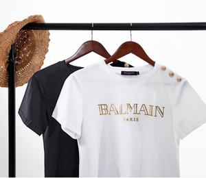 2019 Sommer neue Paris Schulter Goldschnalle Brief Hülse kurz kleinen runden Hals Buchstaben T-Shirt Frauen-Tops T-Shirts