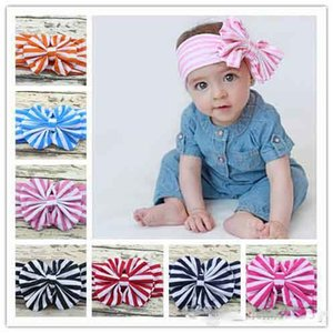 8 Colors Baby Stripe Bowknot Hairbands Headwrap Infant Head Bands Headband Kids Elastic Headwear Hair Bow Children Hair Accessory