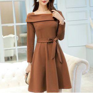 Vestido Mulheres Suit Ladies Escritório Work Wear Negócios Formal manga comprida Primavera Outono A linha de vestidos elegantes Casual Feminino Vestidos