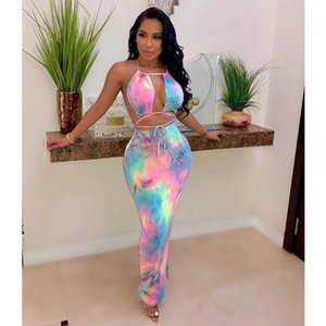 Free Ship 2020 New Women Sexy Backless Hallow Out Halter Dresses Slim Bodycon Long Maxi Dress Club Wear