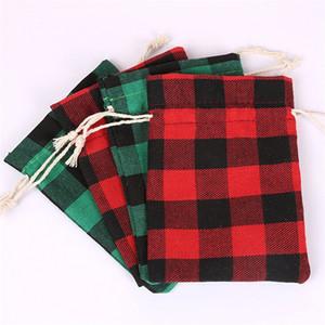 Modelo de la Navidad bolsa con cordón de caramelo del bolsillo del enrejado paquete de regalo del paquete del bolso del paño caliente de la manera Venta 0 83cd UU