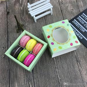 Caixas de bolo Transparente Macaron Chocolate Box 6 células caixas quadradas cookies Biscuit Papel packging Box 12 * 11 * 5,2 centímetros verde rosa