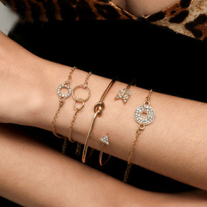 S1330 Hot Fashion Jewelry 5pcs Bracelet Set Arrow Circle Diamond Knot Bangle Chain Bracelet