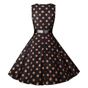 Frauen Saints Day-beiläufige Kleider Mode Herbst-Kürbis-Kopf-Druck Schärpen Frauen Kleider Mode Weibliche Kleidung
