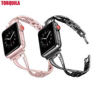 TORQUILA Stainless Steel Band for Apple Watch Series 4 3 2 1 38mm 40m Accessories Metal X-Link Strap for iWatch 42mm 44mm