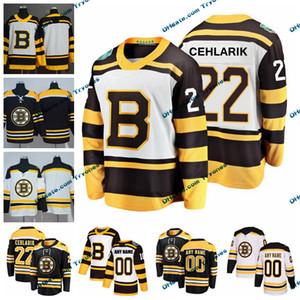 2019 зима классический Бостон Bruins Питер Cehlarik мужские сшитые трикотажные изделия настроить Главная черные рубашки 22 Питер Cehlarik хоккей трикотажные изделия S-XXXL