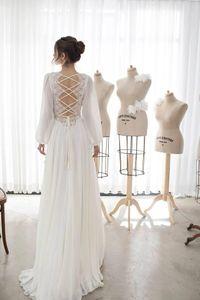 Asaf Dadush 2019 Boho Свадебные платья с длинными рукавами Богемное кружево Аппликация V-образным вырезом свадебное платье A Line Пляжные свадебные платья Robe De Mariee