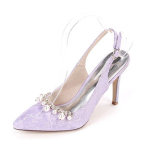 Bombas rendas elegante salto alto toe slingback apontou com pérolas broche de cristal de casamento de noiva marfim sapatos prom senhora de lavanda