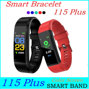 115 Plus Color Screen Bracelet Smart Wristbands Sports Blood Pressure Monitor Waterproof Activity Tracker Watch With Retail Box ID 115 Plus