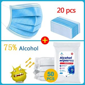 50pcs caja de toallitas desinfectantes de alcohol toallitas con alcohol / venta caliente de 3 capas de máscara 20pcs de tejidos bucales mascarillas faciales primera limpieza de Ayuda