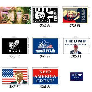 Trump Flag 90*150CM Donald Trump V S Joe Biden Banner Flags for President USA Election Banner 14*21cm handhold Flag Party Decor GGA3476-6