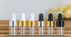 Effacer Dropper 1 ml 2 ml 3 ml Bouteille en verre Mini Huile essentielle d'affichage Vial Petit Sérum parfum brun contenant l'échantillon