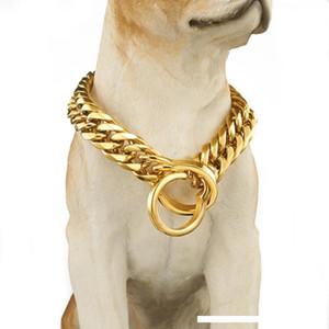Collare 18 millimetri Dog Pet di sicurezza anti-perso catena d-oro guinzaglio Walking addestramento cani Harness Collare caldo di vendita all'ingrosso dei monili
