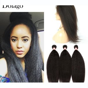 Kinky Straight 360 Lace Frontal Closure With Bundles 4Pics Brazilian Human Hair Wefts with Frontal Closure Dolago Remy