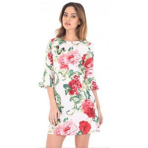 Il nuovo modo del vestito floreale della Boemia delle donne casuale chiarore manica diritta breve vestito da partito mini di base signore Vestido de fiesta