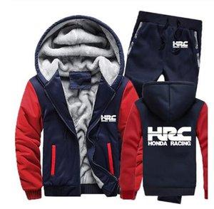 Felpe uomini HRC moto da corsa di marchio dell'automobile dei Hoodies del Mens Suit inverno addensare caldo pile cerniera Tuta Mens jacket + pants set