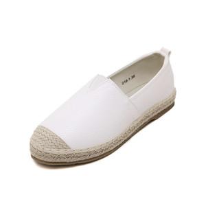 Frauen, weibliche loafer abgerundeter Spitze Espadrilles Leinen Hanf Beleg auf fisher Schuhe große size33-43 beiläufige flache Mikrofaser-Leder Damen Schuhe